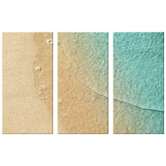 Beach Sand and Water, Triptych Gorgeous 3 Panel Custom Canvas Wall Art, 3 Sizes, Natural Colors, Living Room, Family Room, Bedroom, Den, Office,Bathroom