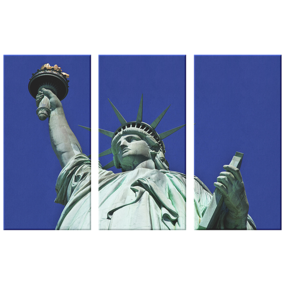 Statue Of Liberty-Close Up Triptych 3 Panel Custom Canvas Wall Art, 3 Sizes, Living Room, Family Room, Den, Bedroom, Office
