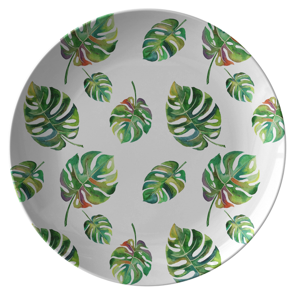 "Big Tropical Leaves ThermoSāf® Polymer 10"" Dinner Plate Microwave Safe"