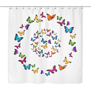 Butterfly Circle Designer Shower Curtain 70 x 70 - Easy Care
