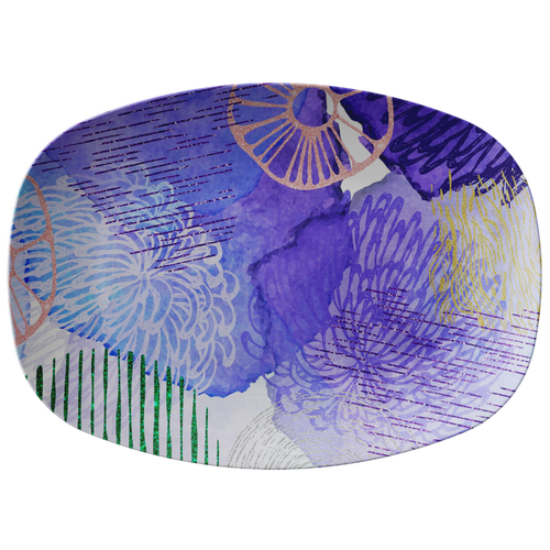 Cool Abstract Blue Purple ThermoSāf® Polymer 10 x 14 Platter Microwave Safe
