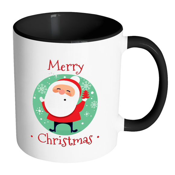 Santa Merry Christmas Ceramic Mug 11 Oz With Color Glazed Interior In 7 Colors, Coffee Mugs