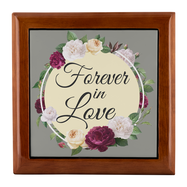 Forever In Love Floral Circle Custom Wooden Jewelry Box in 3 Colors - Mind Body Spirit