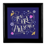 You Are Awesome Custom Design Wood Jewelry Box 3 Colors - Mind Body Spirit