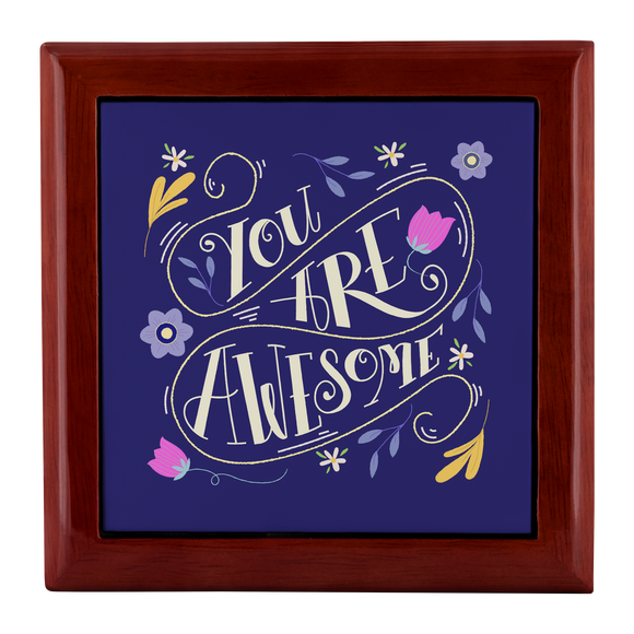 You Are Awesome Custom Design Wood Jewelry Box 3 Colors