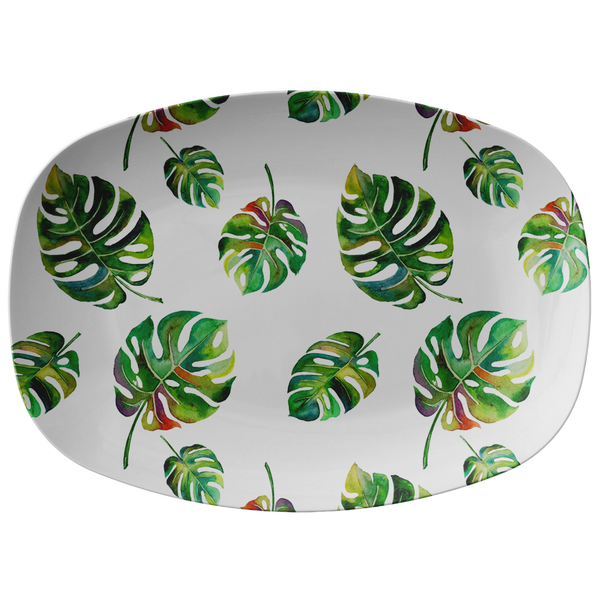 Big Tropical Leaves ThermoSāf® Polymer 10 x 14 Inch Platter Microwave Safe
