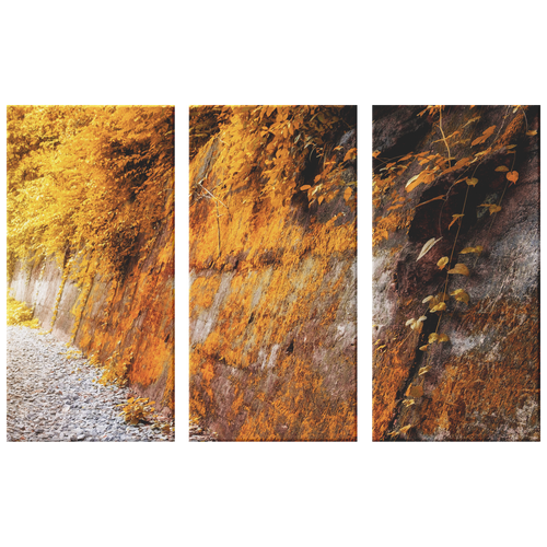 Yellow Leaves Moss on Rock Wall Triptych 3 Panel Canvas Wall Art, Living Room, Family Room, Bedroom, Office, Textured Look Wall Art, 3 Sizes - Mind Body Spirit