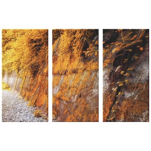 Yellow Leaves Moss on Rock Wall Triptych 3 Panel Canvas Wall Art, Living Room, Family Room, Bedroom, Office, Textured Look Wall Art, 3 Sizes