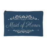 'Grace' Classic Marine Blue Maid of Honor Zippered Accessory Pouch 8 x 5 - Mind Body Spirit