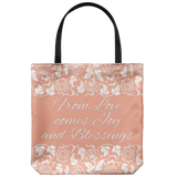 'Calla' Peach Love, Joy, Blessings Custom Designed Tote Bag 18