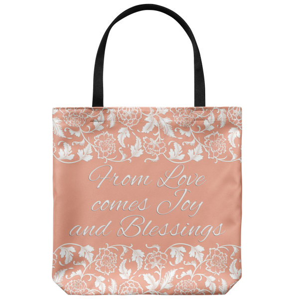 "'Calla' Peach Love, Joy, Blessings Custom Designed Tote Bag 18"" x 18"" - Mind Body Spirit"
