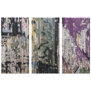 Grunge Peeling Paint on Wood Triptych  Neutral 3 Panel Canvas Wall Art, Contemporary, Modern Industrial, Stylish Wall Decor, 3 Sizes, Living Room, Family Room, Office Den, - Mind Body Spirit