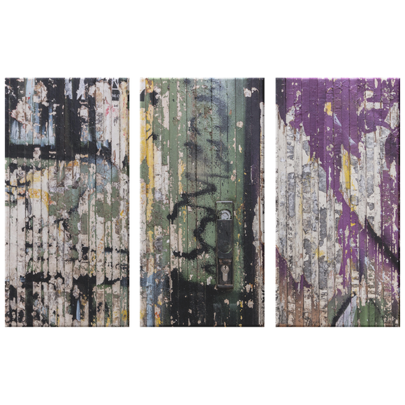 Grunge Peeling Paint on Wood Triptych  Neutral 3 Panel Canvas Wall Art, Contemporary, Modern Industrial, Stylish Wall Decor, 3 Sizes, Living Room, Family Room, Office Den,