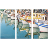 Colorful Boats in Harbor Triptych 3 Panel Canvas Wall Art, 3 Sizes, Living Room, Family Room, Office, Bedroom, Nautical, - Mind Body Spirit