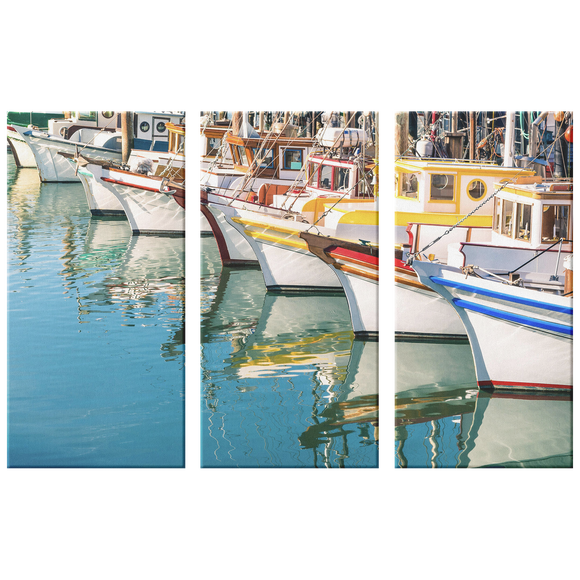 Colorful Boats in Harbor Triptych 3 Panel Canvas Wall Art, 3 Sizes, Living Room, Family Room, Office, Bedroom, Nautical,
