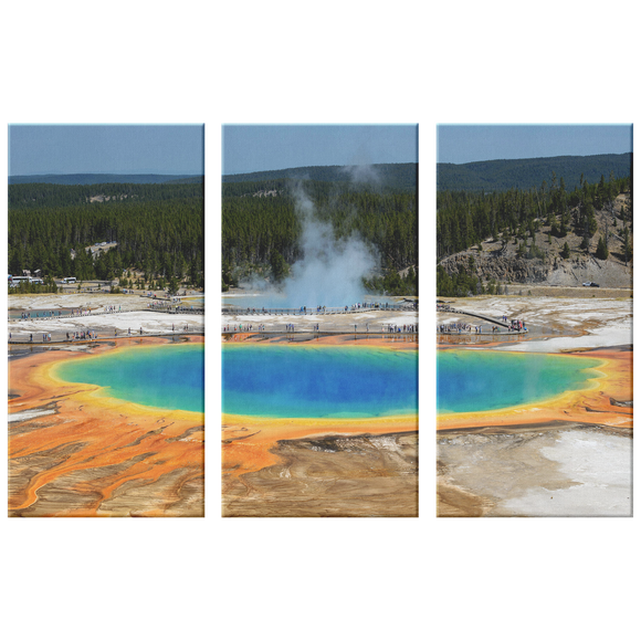 Yellowstone National Park Prismatic Spring Triptych, 3 Panel Custom Canvas Wall Art Decor, 3 Sizes, Living Room, Dining Room, Bedroom, Office, Family Room,