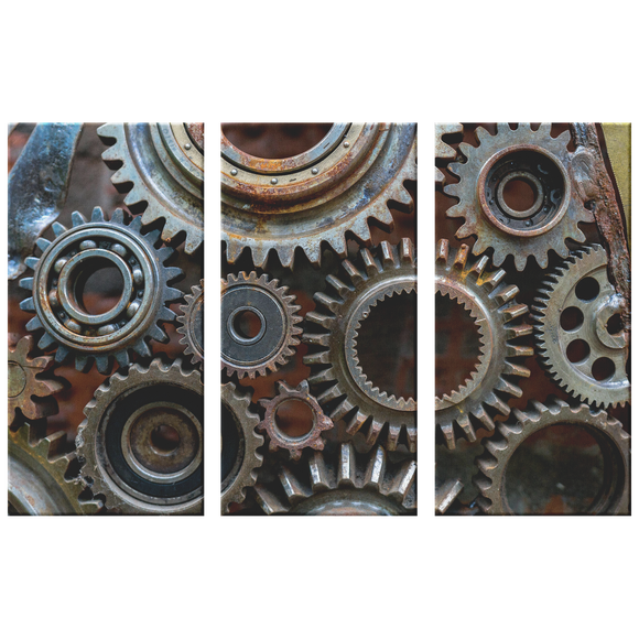 Rusty Looking Gears Triptych  3 Panel Canvas Wall Art, 3 Sizes, Industrial, Contemporary, Steampunk, Living Room, Bedroom, Den, Family Room,