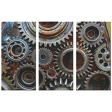 Rusty Looking Gears Triptych  3 Panel Canvas Wall Art, 3 Sizes, Industrial, Contemporary, Steampunk, Living Room, Bedroom, Den, Family Room, - Mind Body Spirit