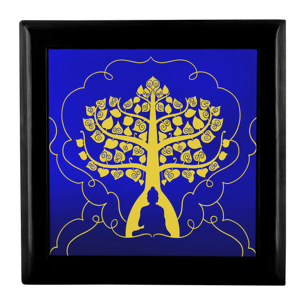 Buddha Tree of Life Gold on Blue Custom Wooden Jewelry Box - 3 Colors - Mind Body Spirit