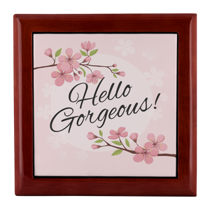 Hello Gorgeous, Pink Blossom Custom Design Wood Jewelry Box, 3 Colors - Mind Body Spirit