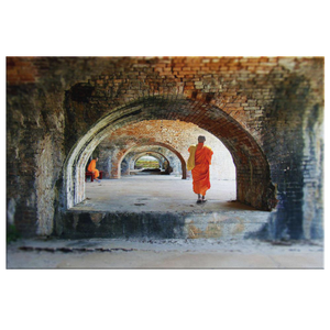 Ancient Arches with Monks Canvas Wall Art in 5 Sizes