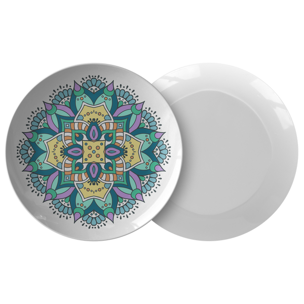 Lovely Della Mandala Designer Dinner Plate 10 Inch Microwave Dishwasher Safe - Mind Body Spirit