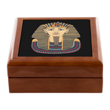 Egyptian Gold Look Mask on Black Custom Wooden Jewelry Box - 3 Colors