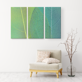 Blue Green Leaf Texture Triptych Gorgeous 3 Panel Canvas Wall Art, 3 Sizes, Living Room, Bathroom, Bedroom, Family Room, Den, Office - Mind Body Spirit