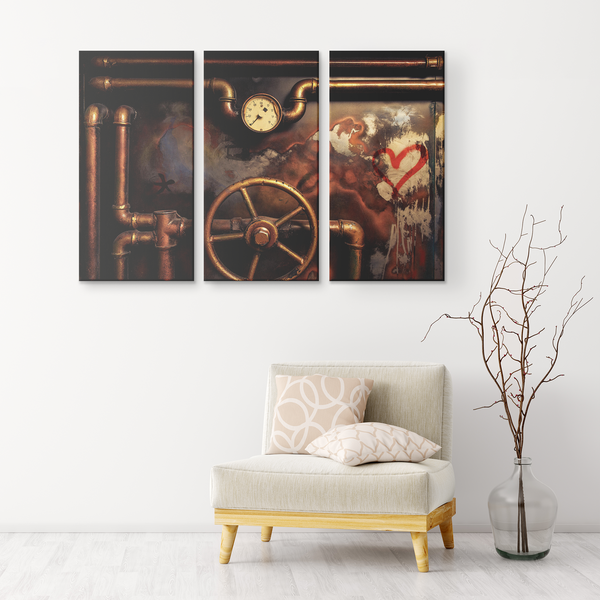 Valve Gauge Wheel Vintage Triptych 3 Panel Canvas Wall Art, Steampunk, Modern Industrial, Contemporary, Living Room, Family Room, Den, Bedroom, 3 Sizes - Mind Body Spirit