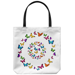 Butterfly Circle Designer Tote Bag 18 x 18 White