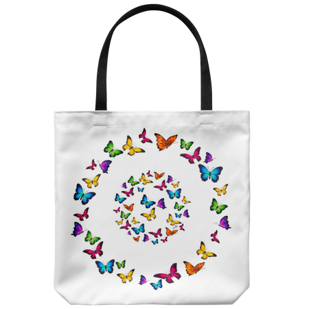 Spread Your Wings And Fly 18 x 18 Tote Bag - Dark Blue, White, Light Blue