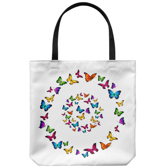Butterfly Circle Designer Tote Bag 18 x 18 White - Mind Body Spirit