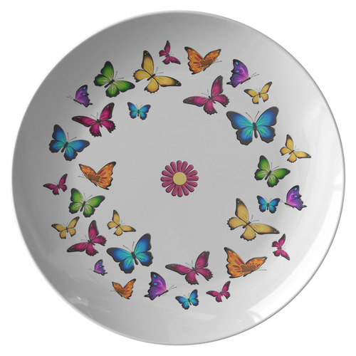 Butterfly Circle Dinner Plate 10 Inch Microwave and Dishwasher Safe - Mind Body Spirit
