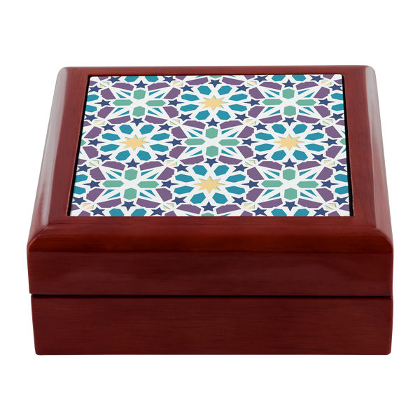 Kismet Mosaic Designer Wooden Jewelry Box in 3 Colors - Mind Body Spirit