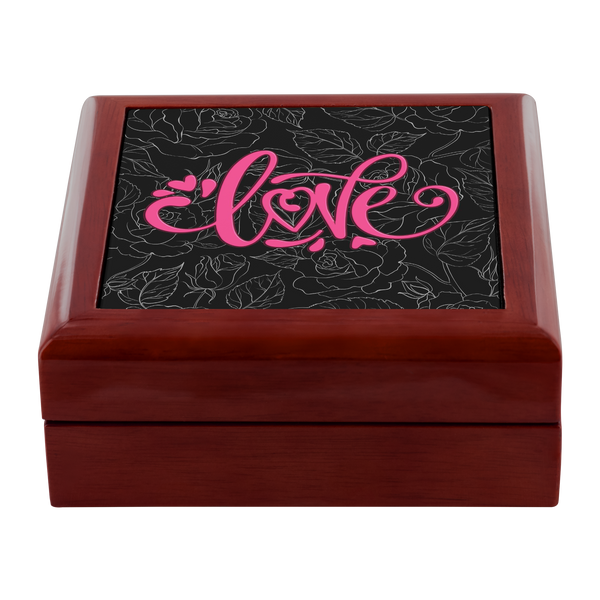 Love and Roses Custom Design Wood Jewelry Box, 3 Colors - Mind Body Spirit