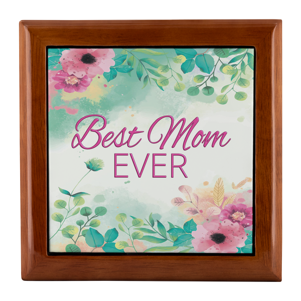 Best Mom Ever Watercolor Floral Custom Designed Wood Jewelry Box, 3 Colors - Mind Body Spirit