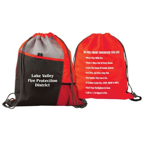 Deluxe Drawstring Backpack With Fire Safety Tips - With Custom Imprint
