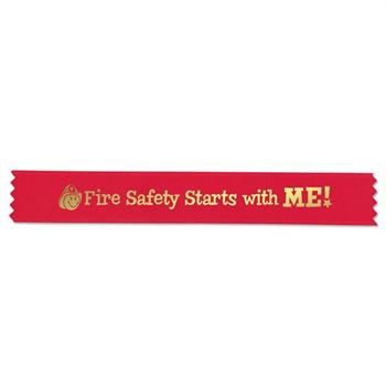 8 in Red Satin Ribbon, Gold Lettering Fire Safety Starts With Me and Gold Smiley Face with Fire Helmet image, Pack of 100 ribbons