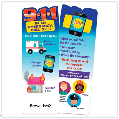 "Bookmarks <br> <font color=""blue"">Dial 911 In An Emergency Die-Cut Bookmark </font> <br> <br><br> Item #KM-906"