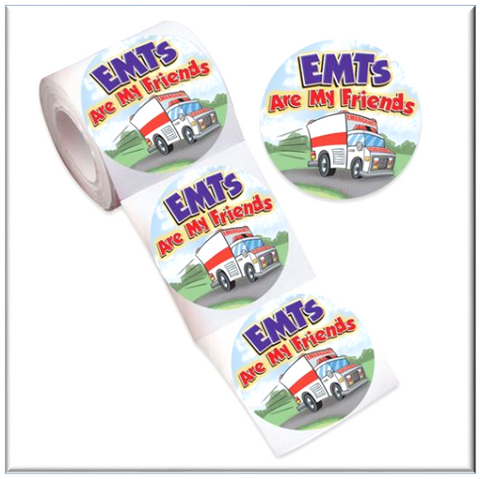 "Stickers<br><font color=""blue""> EMTs Are My Friends Stickers-On-A-Roll 100 Stickers per Roll </font><br><br> Item #RS-1151"