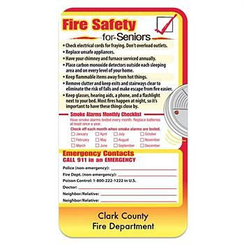 Rectangle Fire Safety Refrigerator Magnet with Safety Tips for Seniors personalized with department name