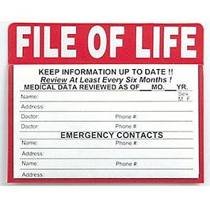 Magnet, File of Life Pocket Folder, fill in medical information, attach to refrigerator