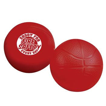 Red Minin Basketball with White Imprint Shot For Fire Safety Every Day sold in pack of 10