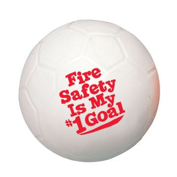 Mini 4.5 inch White Soccer Ball imprinted with red Fire Safety is My Goal sold in packs of 10