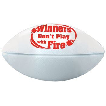 6 in long white mini football with red imprint Winners Don't Play With Fire safety message. Pack of 10