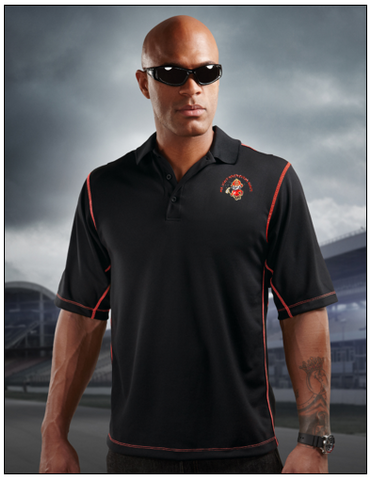 Tri-Mountain Intercooler K006 Micro mesh polo Shirt - Black/Red