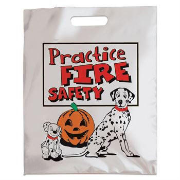 11 x 15 Halloween Mylar Treat Bag with Practice Fire Safety message, pumpkin and dalmatian images.