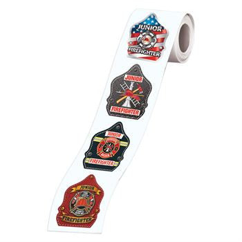 Roll of Fire Helmet Badge Stickers 5 designs, 200 stickers per roll