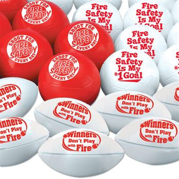 Assortment Pack of 30 mini sports balls with fire safety messages, 10 white soccer mini balls, 10 white mini footballs, 10 red mini basketalls