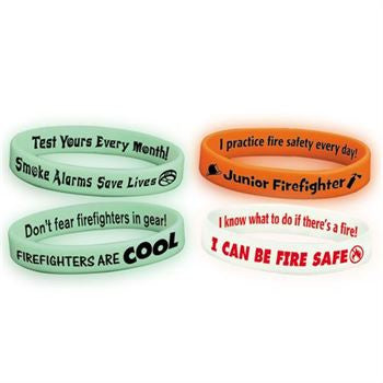 Glow Silicone Bracelet Assortment of 100, 25 of each safety slogan in pack